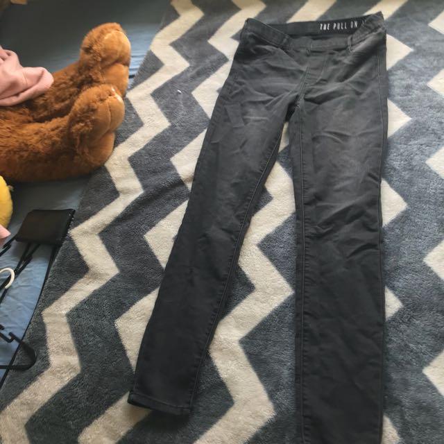 Black skinny pull on jeans
