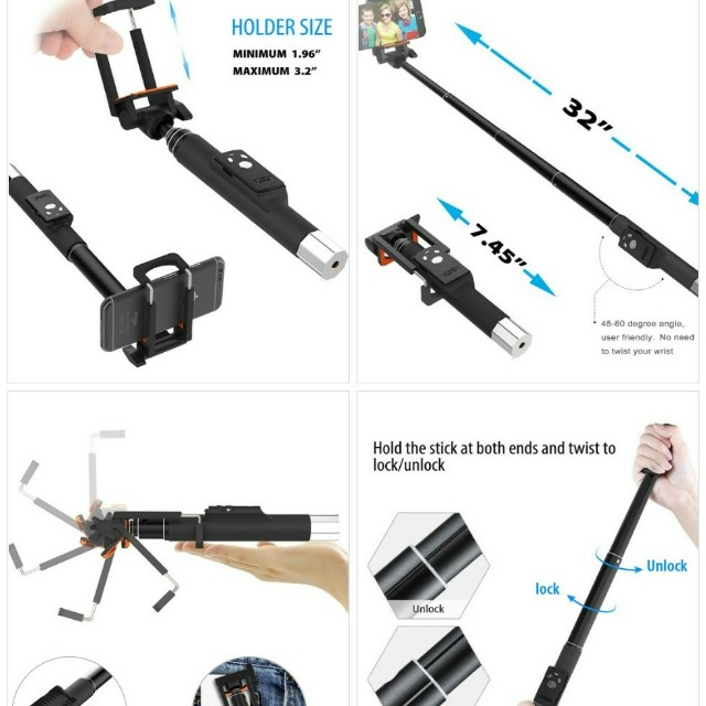 Bluetooth Selfie Stick with Small Remote
