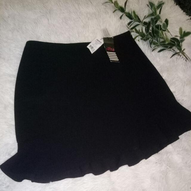 BNWT Ally Black Skirt Frill Hem Size 14