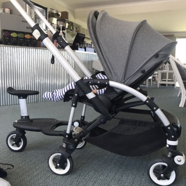 bugaboo bee 3 stroller with toddler scooter babies kids prams strollers car seats on. Black Bedroom Furniture Sets. Home Design Ideas