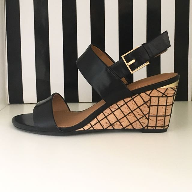 Calvin Klein black leather sandals wedges shoes