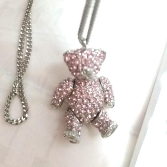 DIOR 絕版正品 😍🐻可愛熊啤啤銀頸鍊 Authentic limited ed movable bear necklace