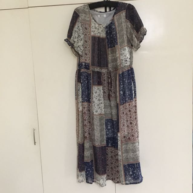 Eg printed dress with drawstring waist