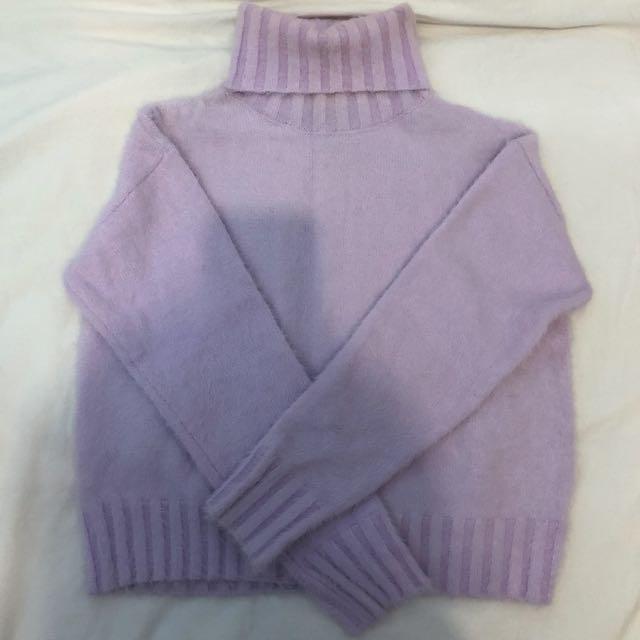 F21 Light Purple Fuzzy Turtleneck Sweater- Small