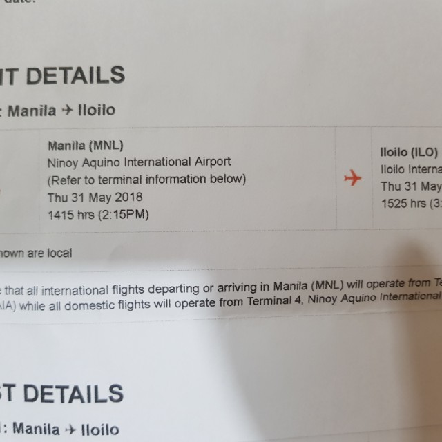 Flight Ticket Manila to Iloilo