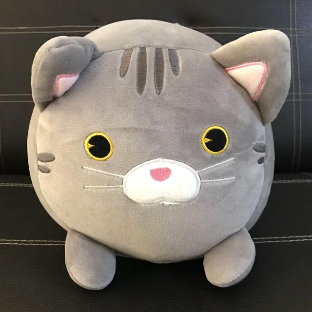 Grey Cat Stuffed Bolster