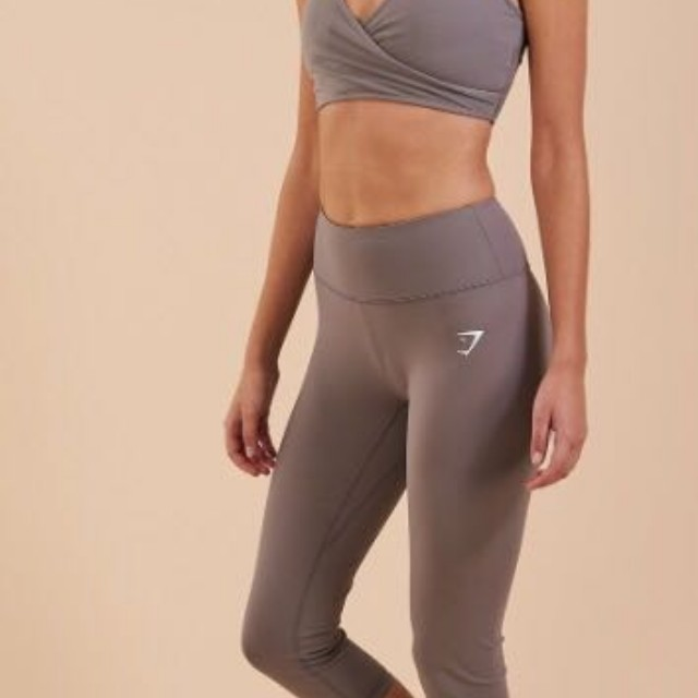 f8555683b02f3 Gymshark slate grey cropped Dreamy Leggings, Sports, Sports Apparel on  Carousell