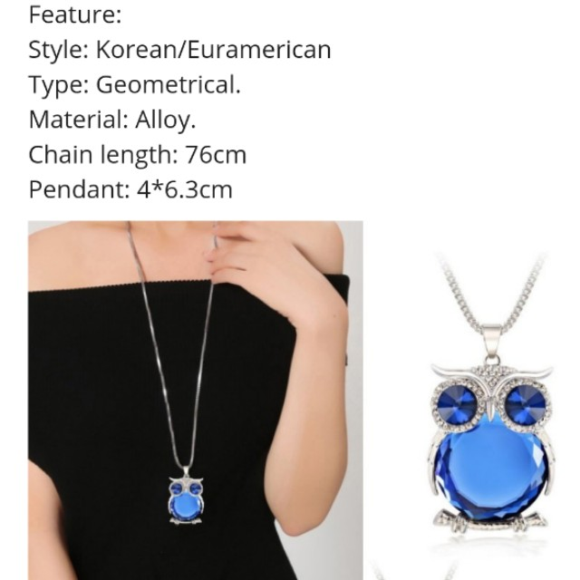 La Vie Vintage Long Sweater Chain Owl Necklace Crystal Pendant Jewelry(Gray), Lain