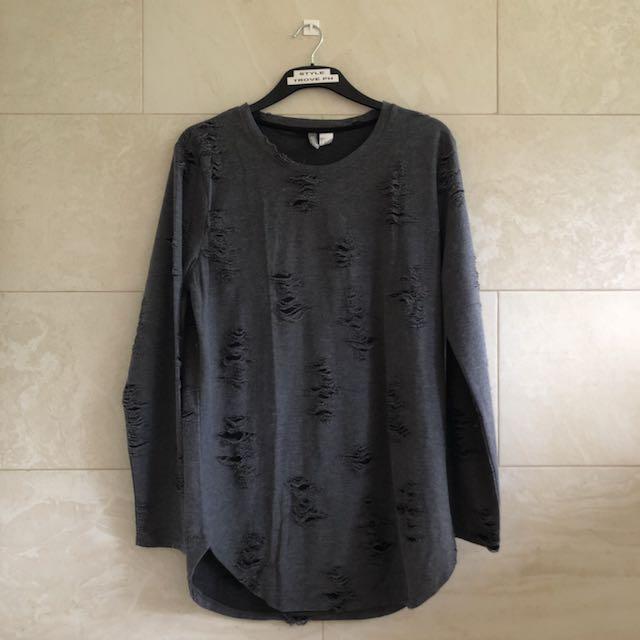 H&M Distressed Light Sweater Top