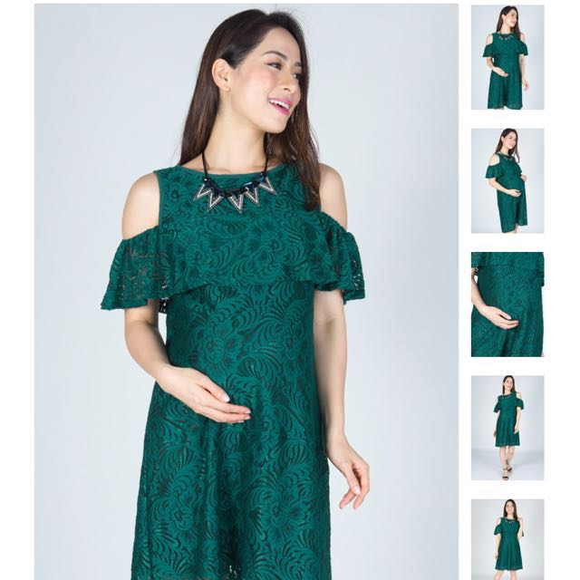 123b1408e8c Jump Eat Cry Green Ava Cold Shoulder Nursing Dress, Women's Fashion ...