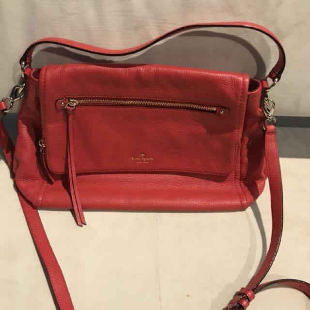 Kate Spade red leather satchel bag