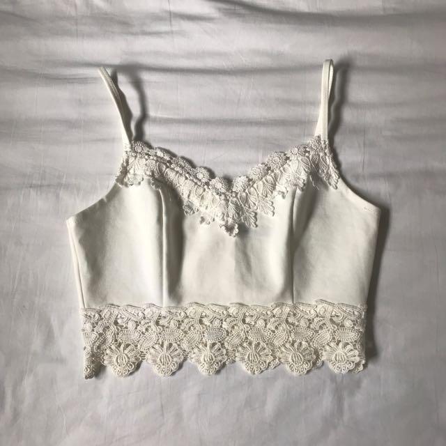 Kitschen White Crochet Lace Crop Top