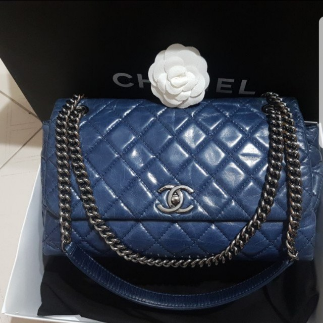 9461cb0fa04700 Authentic chanel seasonal aged calf leather jumbo blue flap bag, Luxury,  Bags & Wallets on Carousell