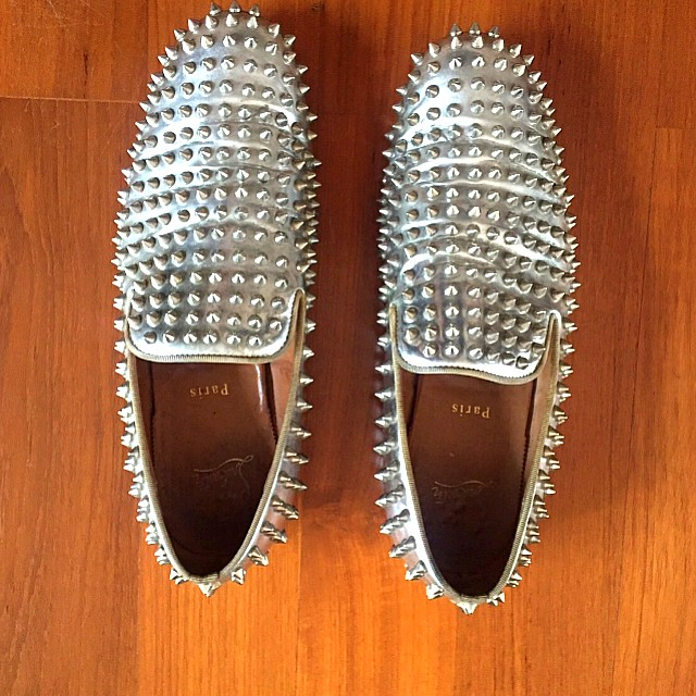brand new ca11e 1aae0 Louboutin Mens Dandelion Spikes Flat Silver Authentic, Men's ...