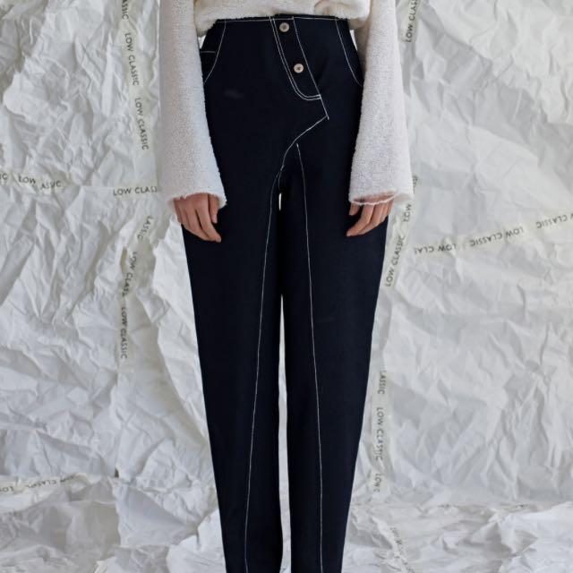 Low Classic 高腰單寧縫線褲