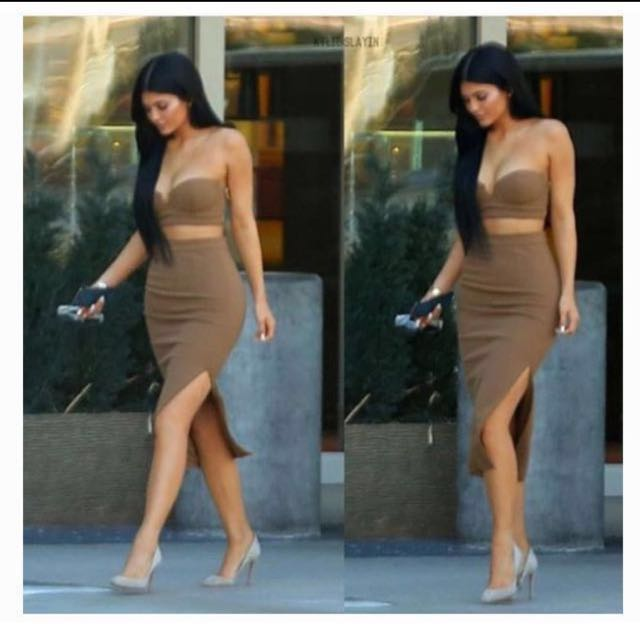 LOWERED PRICE $135 Caspiana - camel crepe bustier two piece.