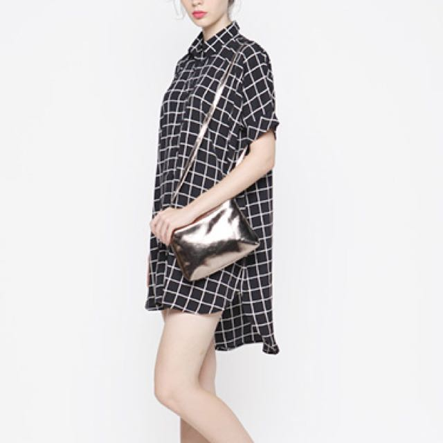 NEW Cotton Ink Dheena Gingham Oversize Shirt Dress