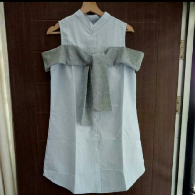 [NEW] Dress Kemeja Salur Biru