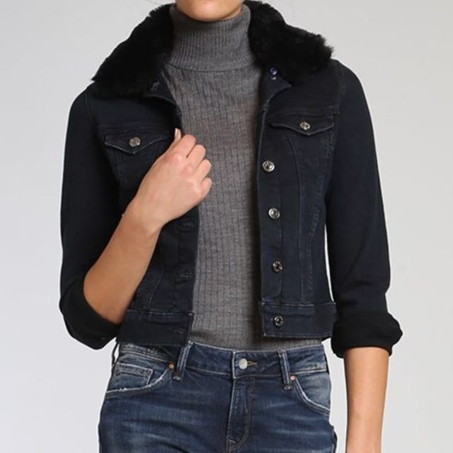 NWT Mavi Jeans Denim Jacket in Ink Sherpa Size M