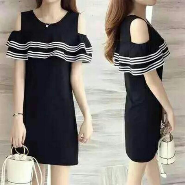 Cold-shoulder korean dress
