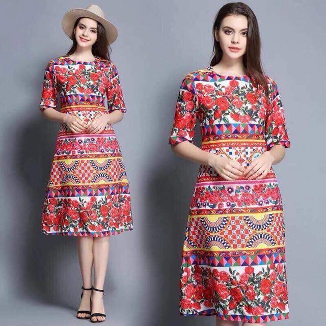 On hand Printed Dress