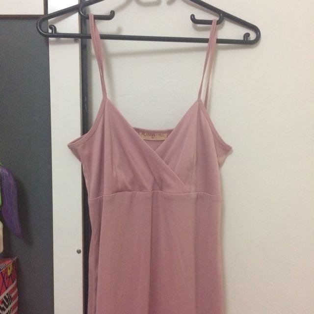 Pink low cut midi bodycon dress