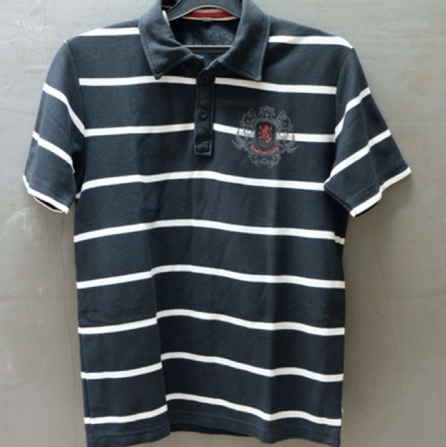 Polo stripes hitam