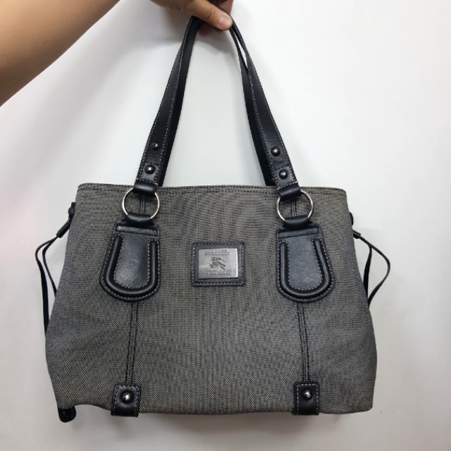 Preloved Authentic Burberry Canvas and Leather Tote Gray Bag