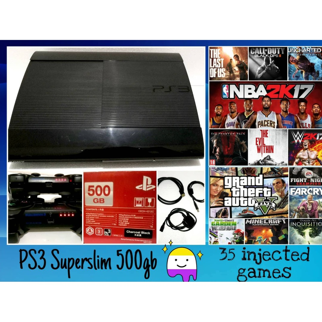 Sony Playstation Ps3 Super Slim Hdd 500gb Full Games Injek 32  Cuci Gudang Superslim 2 Controllers 35 Injected Video Gaming Game