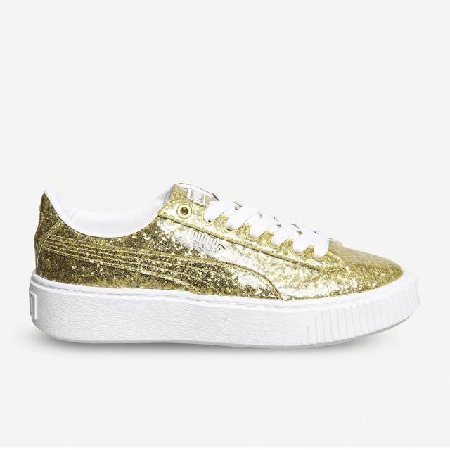 f6ce94cc5a9cda PUMA Basket glittered leather platform trainers (gold glitter white ...