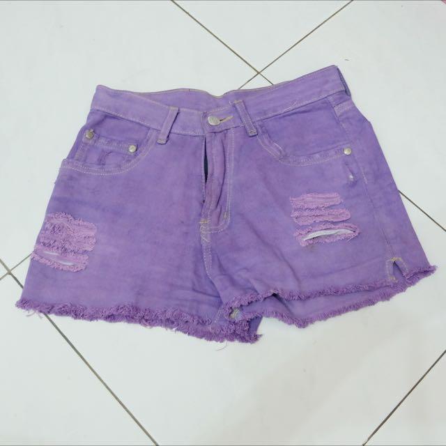 Purple Ripped Denim Shorts