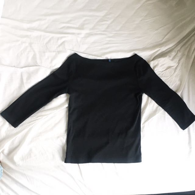 Ralph Lauren Boat Neck Top Black Sleeve