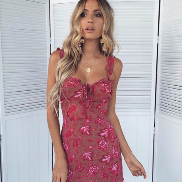 Rose print mini dress