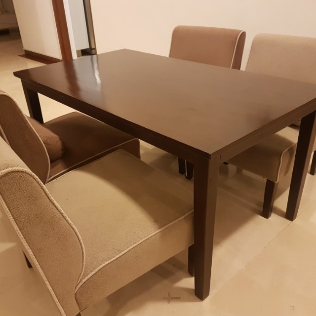 SHORT Japanese Dining table with 4 fabric soft chairs ...