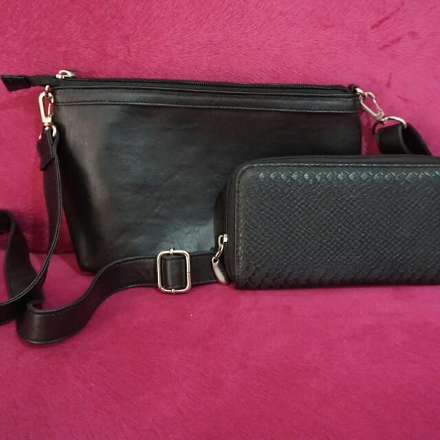 Sling Bag & Black Wallet