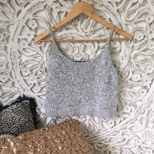 Sportsgirl Knit Crop Grey Marle