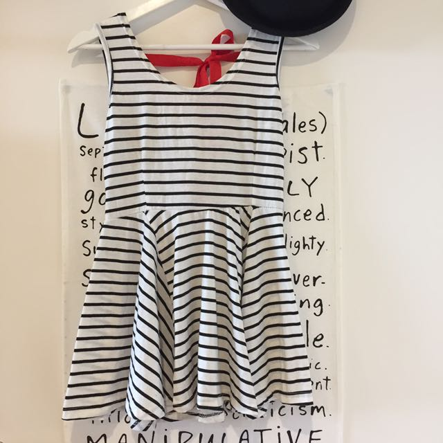 Stripe dress with red back bows