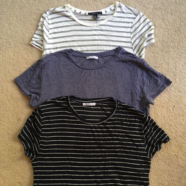 Striped t-shirts (Zara & Forever21)