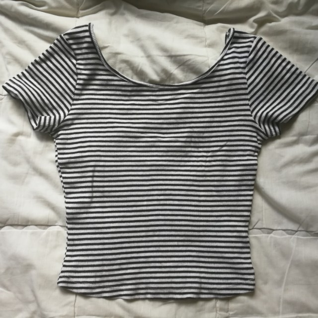 Stripes scoop back crop top