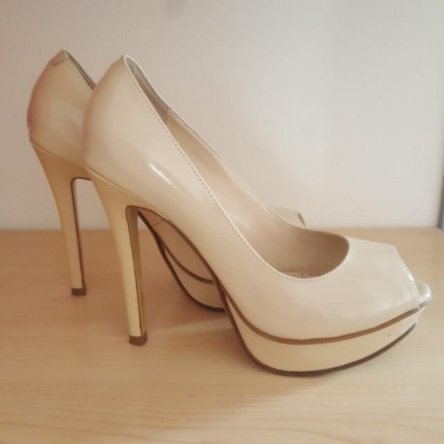 Tony Bianco Jaffa Champagne Patent Platform Peeptoe Heels Size6.5