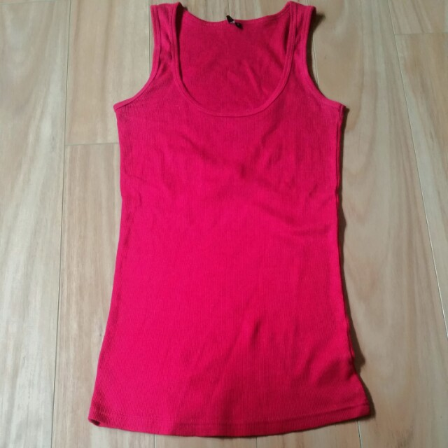 TopShop Ripped Cherry Red Tank Top Singlet - size 8