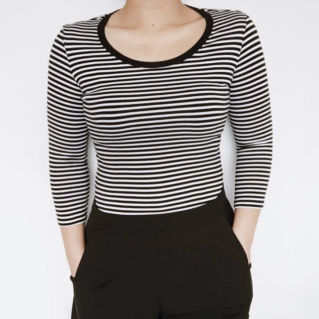 Uniqlo Stripes 3/4 Top (Small)