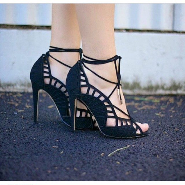 Wanted Shoes Tinka Lace Cut Out Ankle Wrap Suede