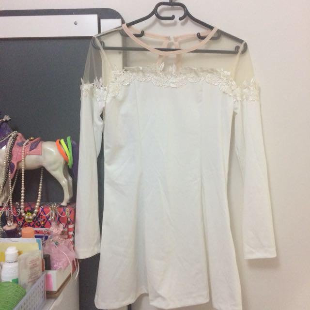 White lace floral skater dress