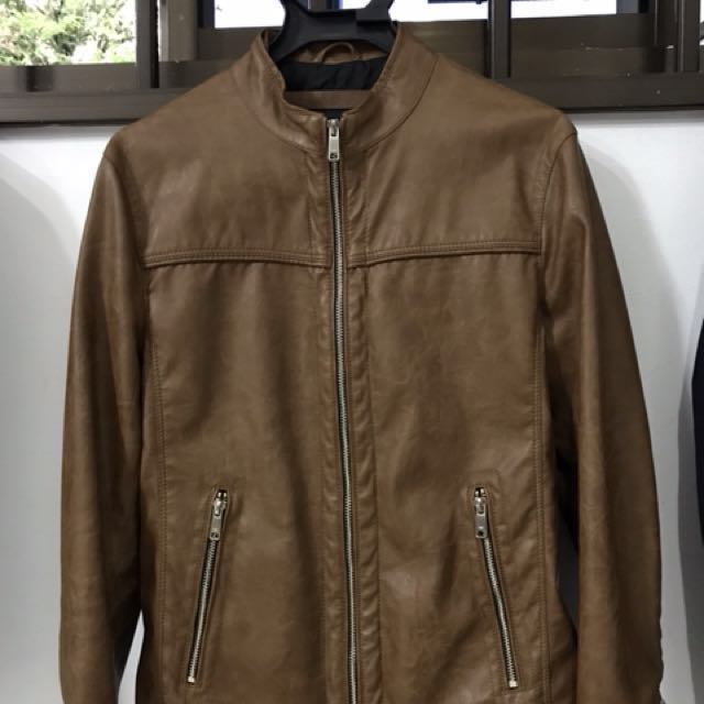 Zara Brown Leather Jacket Men S Fashion Clothes On Carousell