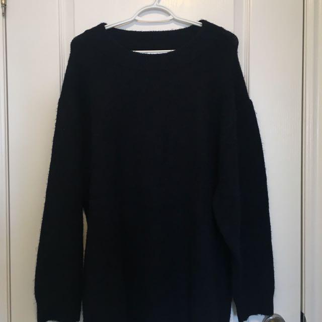 Zara Oversized Knit Sweater/Dress- Small/Navy