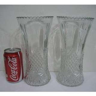 早期收藏,老玻璃雕花花瓶1對