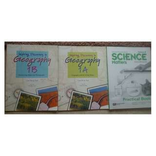 Lower Secondary Geography & Science Assessment Books-$3 Each