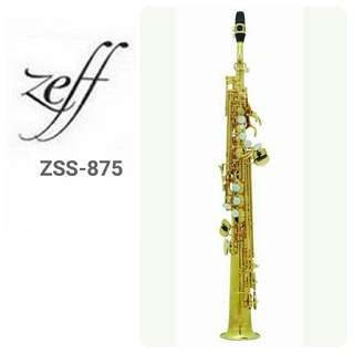 ZEFF SOPRANO SAXOPHONE (France) Standard Style ZSS-875 2 removable necks(1 straight,1 curved)