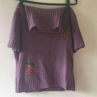 (二手)紫色脖圍長袖上衣/針織上衣